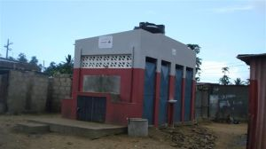 One of four communal sanitation facilities