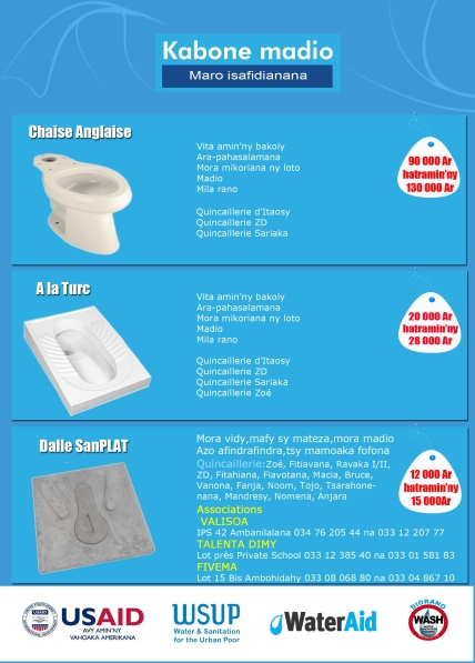 One of Kabone Madio's marketing leaflets, displaying some available and appealing sanitation options