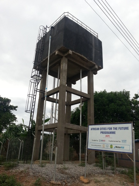 Storage tower in the project area, Kotei. This ensures water is available even in dry times, bringing convenience
